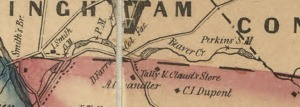 1849 map showing old mill race along the Beaver Creek