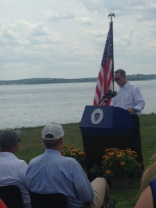 Foreground - Gov. Patrick in cap, with Commissioner Jack Murray of the Department of Conservation and Recreation