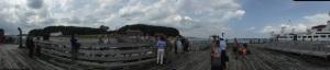 Panorama from the dock, looking into Peddocks Island