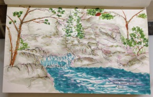 Jessey's sketch of the swimming hole below Duck Brook Bridge.