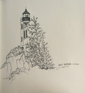 Nick's sketch of the lighthouse at Bass Harbor.