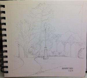 Pam's sketch of Agamont Park in Bar Harbor.