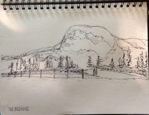 My (Sara R.) sketch of the Beehive, the view from Sand Beach.