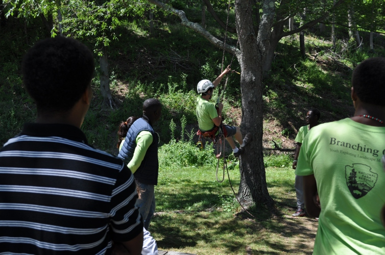 Branching Out Teach-back session on tree climbing at Peddocks Island