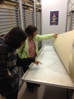 Looking at Olmsted Brothers plans with Michelle Clark