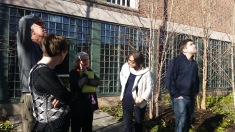 JoAnn in center, with NPS region and park staff enjoying the garden.