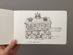 A sketch I did of the Coast Guard Station we called home for a week