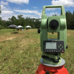 Setting up the Total Station on a dig in Mississippi