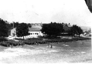 Spatial organization: A view from Officers Row to the parade ground and barracks. The vertical height over the rest of the fort gave a sense of hierarchy in the landscape.